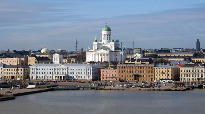 Finland capital city Helsinki and cathedral