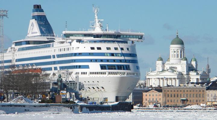 Fantastic passenger cruising ship entering the port of Helsinki