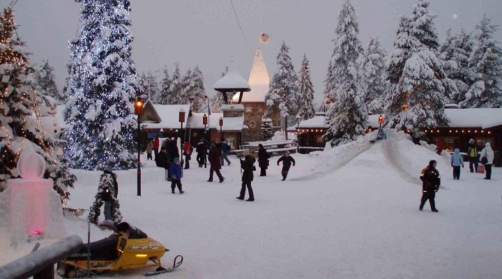 Winter weather in Rovaniemi in Finland, city of Santa