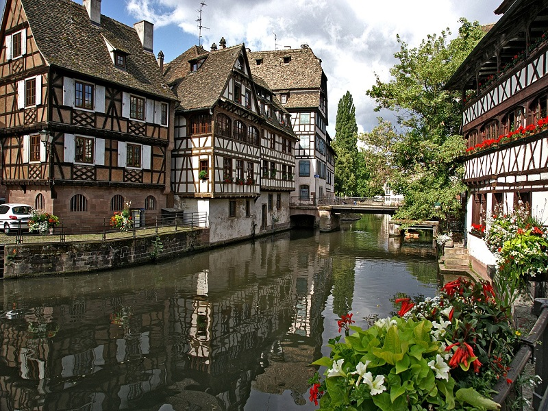 A photo of traditional houses in Strasbourg, France
