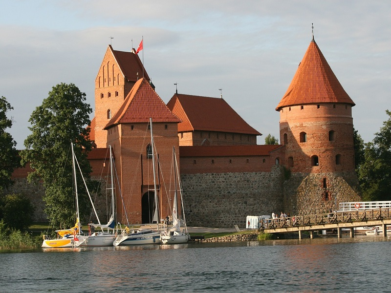 Trakai Castle in Lithuania from front
