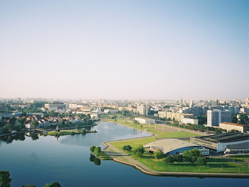City view of Minsk with river