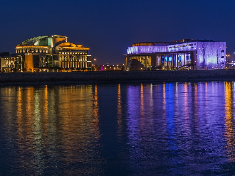 Image of Budapest at night illuminated by lights