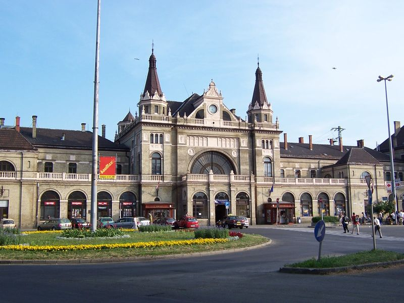 Front picture taken of the Railway Station in Pecs.