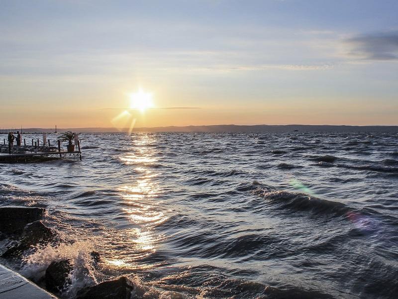 A view of Lake Balaton from Siófok city.