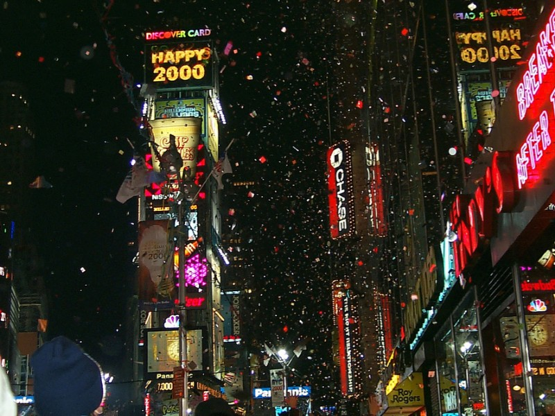Image of people gathering for the celebration of a New Year in New York