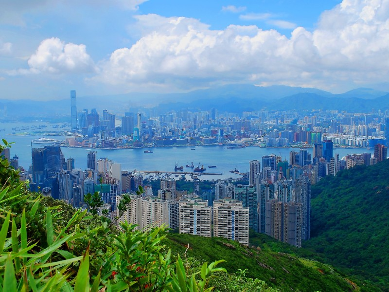 Image of the distance cityscape of Hong Kong.