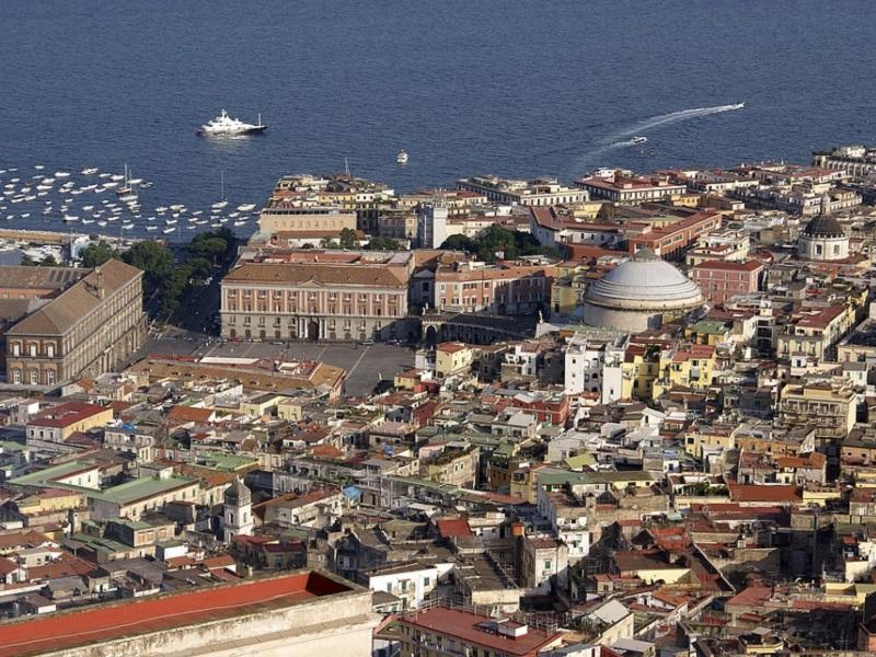 Italian town of Naples, with Plebiscito square