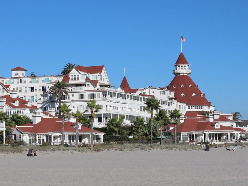 Image taken of a beach hotel in San Diego.