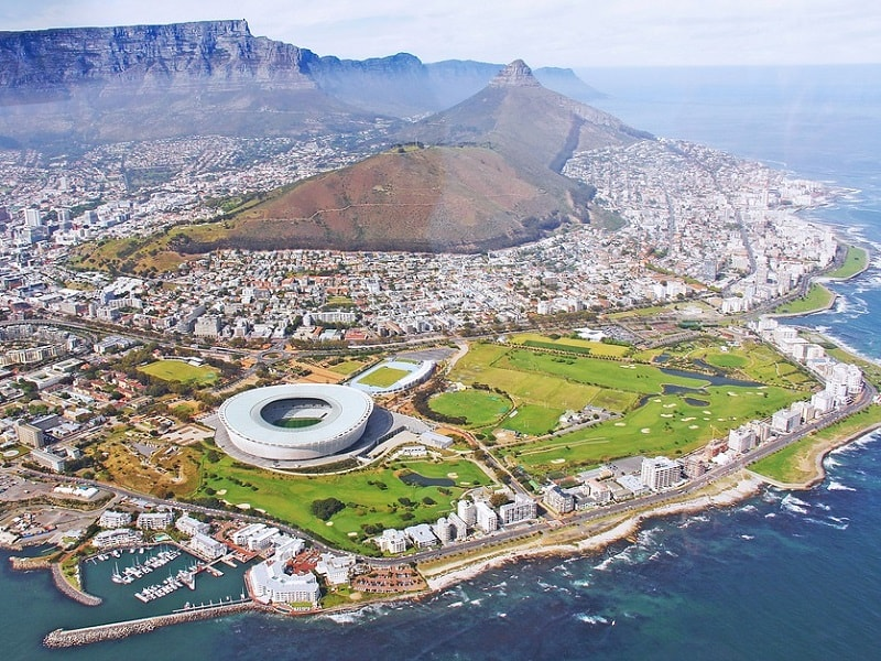 Cape Town shot taken from a helicopter.