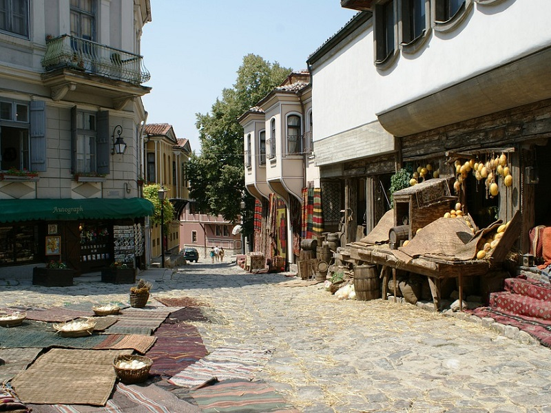 A picture of an old street running in Plovdiv, Bulgaria.