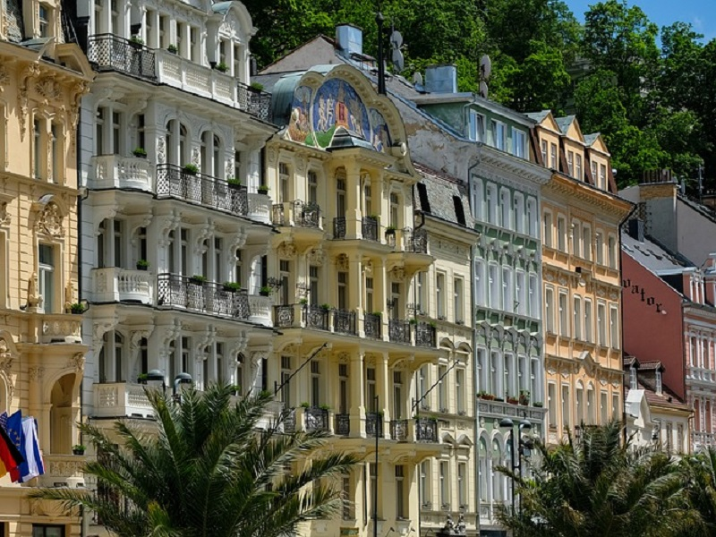 Picture taken of several historic buildings in Karlov Vary, Czech Republic
