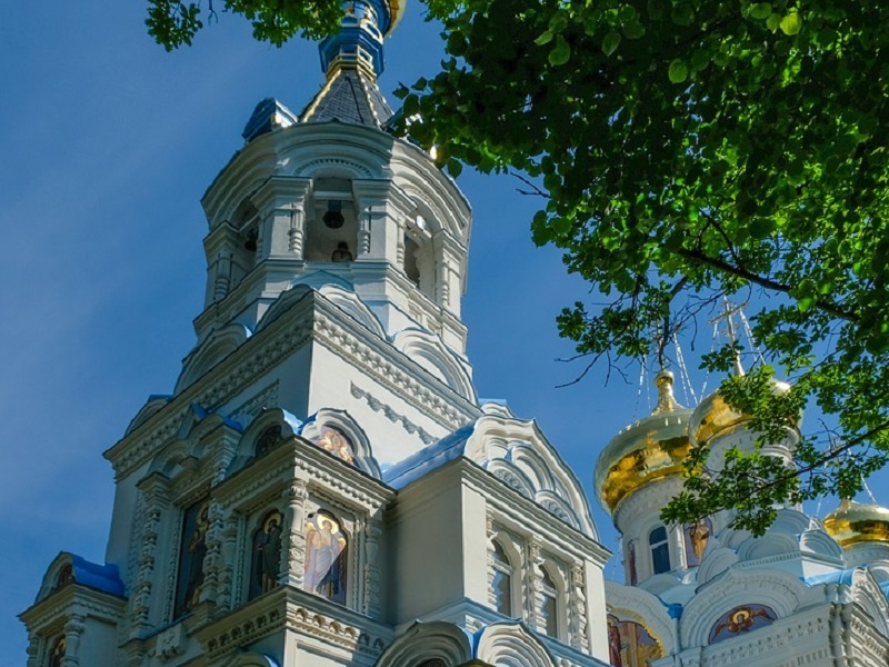 Image of an old, but beautiful Russian Orthodox Church in Karlovy Vary, Czech Republic