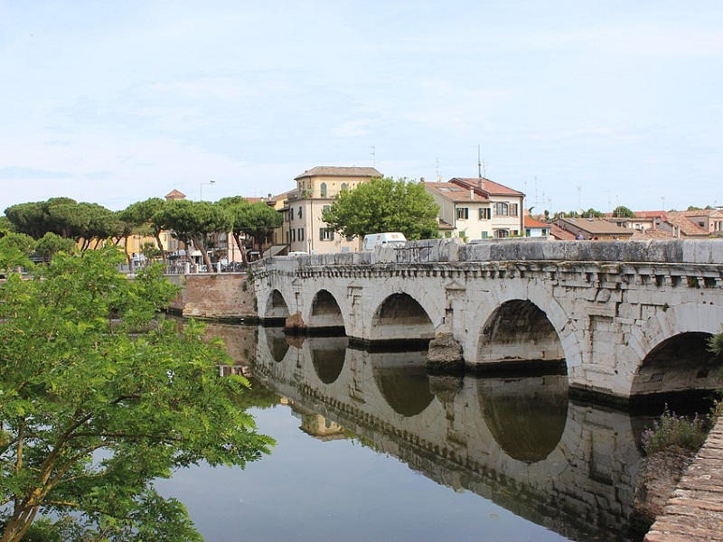 Picture of Bridge of Tiberius in Rimini, Italy.
